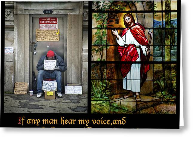 Cardboard Digital Greeting Cards - Behold I Stand At The Door And Knock Composite Greeting Card by Thomas Woolworth