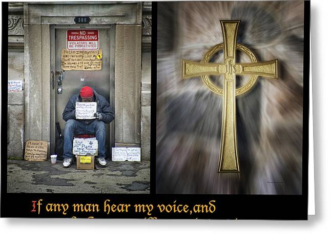 Human Survival Photographs Greeting Cards - Behold I Stand At The Door Composite Greeting Card by Thomas Woolworth