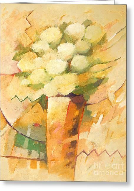 Beige Abstract Greeting Cards - Beige Flowers Greeting Card by Lutz Baar