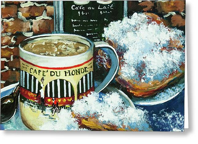 New Orleans Greeting Cards - Beignets and Cafe au Lait Greeting Card by Dianne Parks