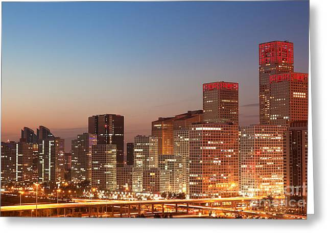 Place Of Business Greeting Cards - Beijing Central Business District Skyline at sunset Greeting Card by Fototrav Print