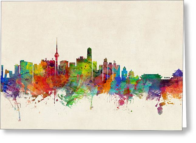 Cityscape Digital Greeting Cards - Beijing China Skyline Greeting Card by Michael Tompsett