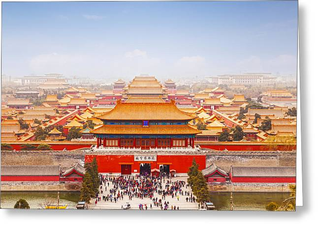 High Angle Greeting Cards - Beijing Forbidden City Skyline Greeting Card by Colin and Linda McKie