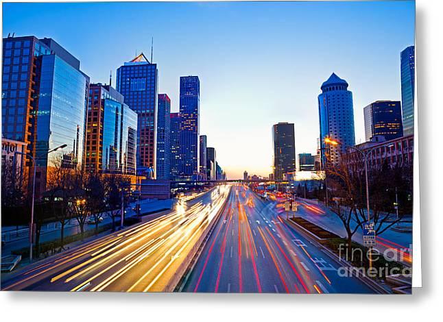 Beijing Skyline at night Greeting Card by Fototrav Print