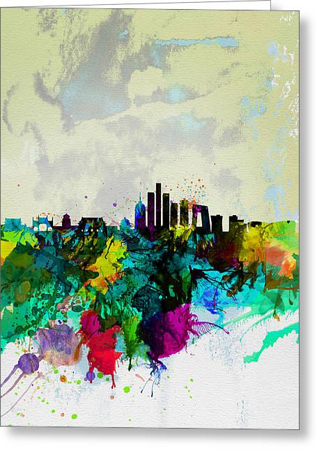 Cityscape Digital Art Greeting Cards - Beijing Watercolor Skyline Greeting Card by Naxart Studio