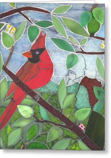 Men Glass Greeting Cards - Being One Greeting Card by Linda Pieroth Smith
