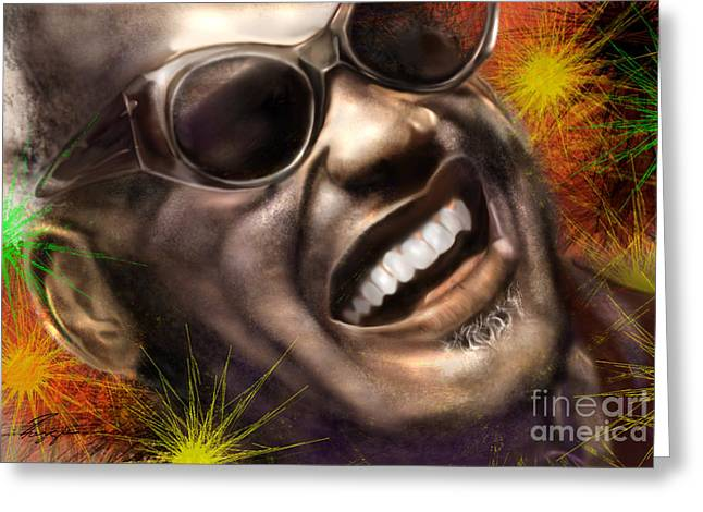 Super Stars Paintings Greeting Cards - Being Ray Charles1 Greeting Card by Reggie Duffie