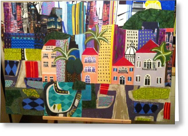 City Tapestries - Textiles Greeting Cards - Beirut Greeting Card by Nevine Mattar