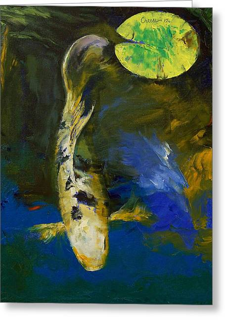 Japanese Koi Greeting Cards - Bekko Butterfly Koi Greeting Card by Michael Creese