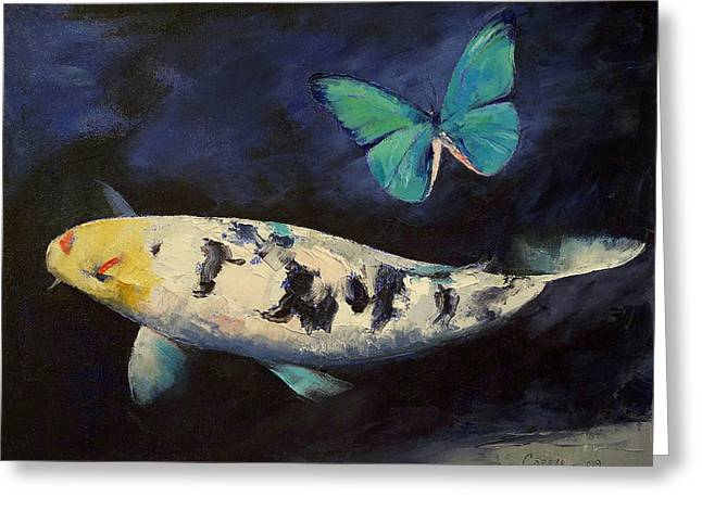 Japanese Koi Greeting Cards - Bekko Koi and Butterfly Greeting Card by Michael Creese