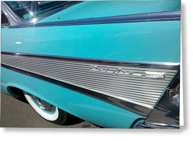 Rally Greeting Cards - Bel Air Blue Fin Greeting Card by FlyingFish Foto