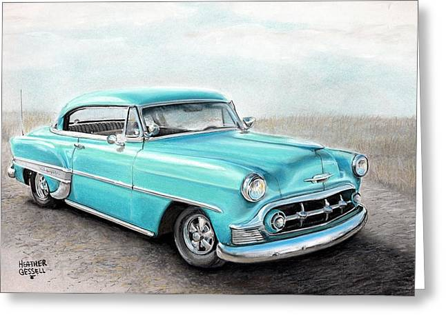 Classic Car.hot-rod Greeting Cards - Bel Air Greeting Card by Heather Gessell