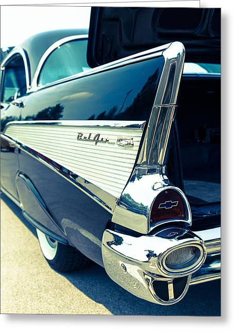 Chevrolet Trunk Greeting Cards - Bel AirTail Fin Greeting Card by Alexey Stiop