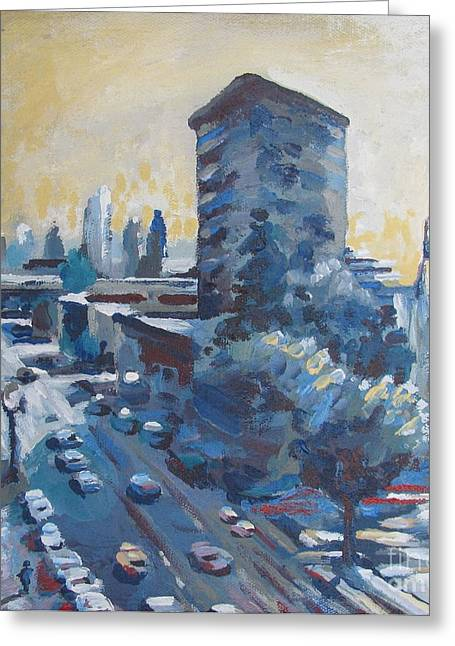 Stockton Paintings Greeting Cards - Belding Building View Greeting Card by Vanessa Hadady BFA MA