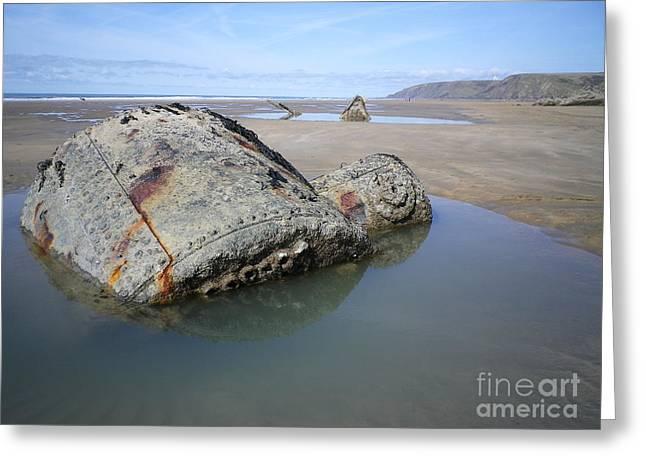 Ww1 Greeting Cards - Belem Shipwreck Cornwall Greeting Card by Richard Brookes