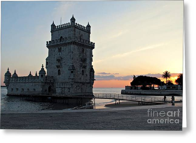 Fort River Greeting Cards - Belem Tower in Lisbon Greeting Card by Kiril Stanchev
