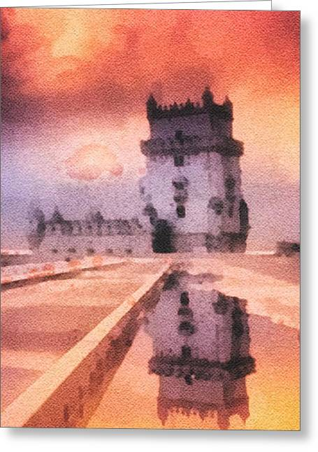 Portugal Paintings Greeting Cards - Belem Tower Greeting Card by Mo T