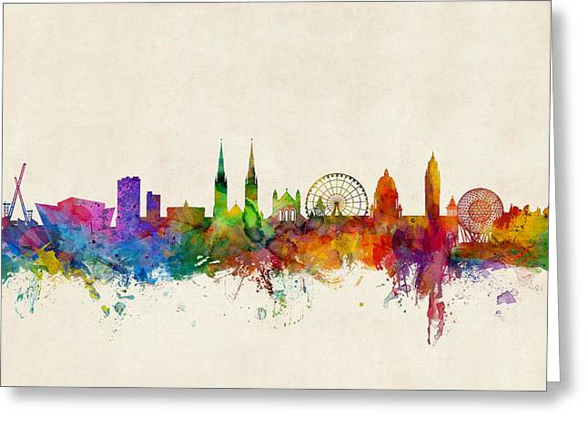 Belfast Greeting Cards - Belfast Northern Ireland Skyline Greeting Card by Michael Tompsett