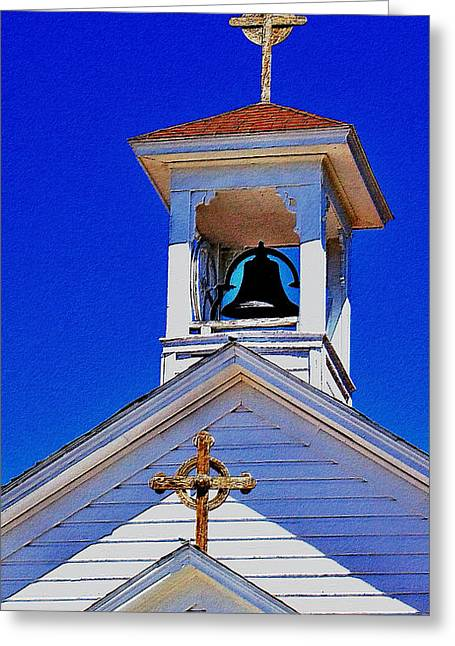 Golden Bell Greeting Cards - Belfry and Crosses Greeting Card by Kae Cheatham