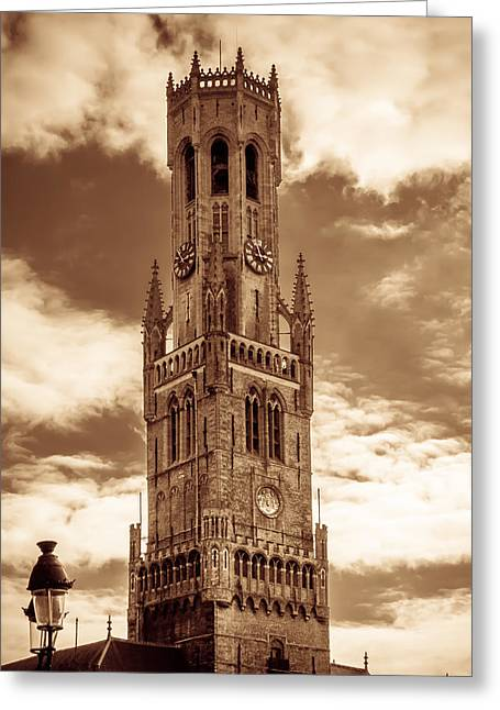 Observation Greeting Cards - Belfry Tower of Bruges Greeting Card by Wim Lanclus