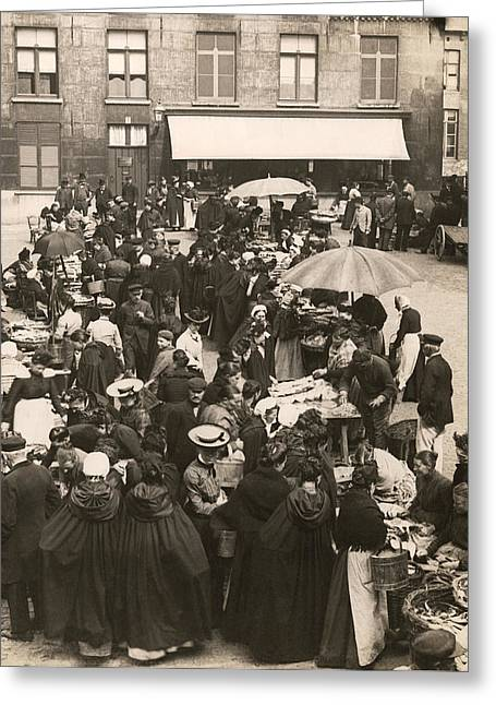 Belgian Fish Market Greeting Card by Underwood Archives
