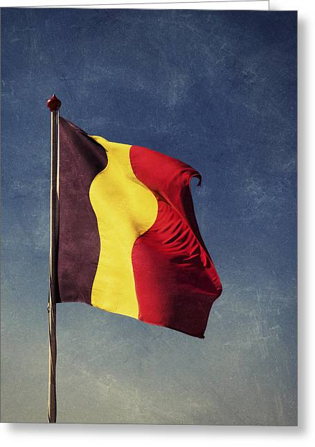 Vivid Colour Greeting Cards - Belgian Flag Greeting Card by Wim Lanclus