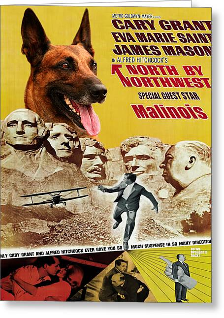 Belgian Malinois Art Canvas Print - North By Northwest Movie Poster Greeting Card by Sandra Sij