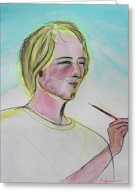 Pale Complexion Greeting Cards - Belgian Painter Illuminated By His Work Greeting Card by Asha Carolyn Young