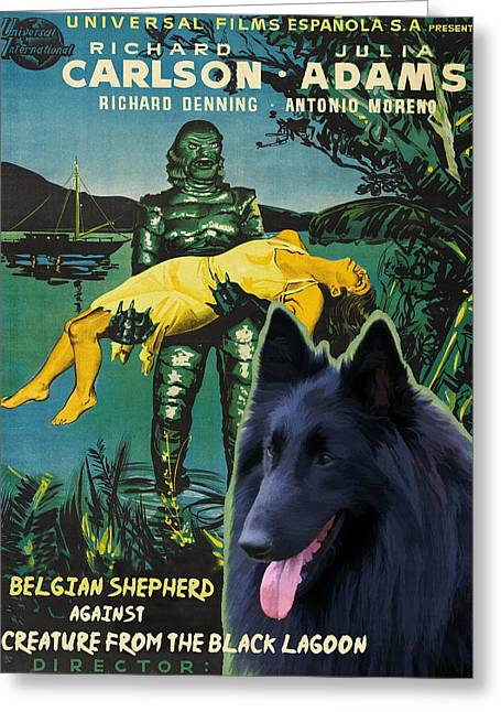 Belgian Shepherd Art Canvas Print - Creature From The Black Lagoon Movie Poster Greeting Card by Sandra Sij