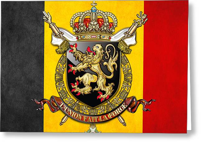 Coa Greeting Cards - Belgium Coat of Arms and Flag  Greeting Card by Serge Averbukh