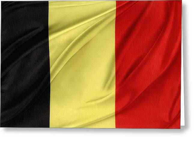 Waving Flag Greeting Cards - Belgium flag Greeting Card by Les Cunliffe