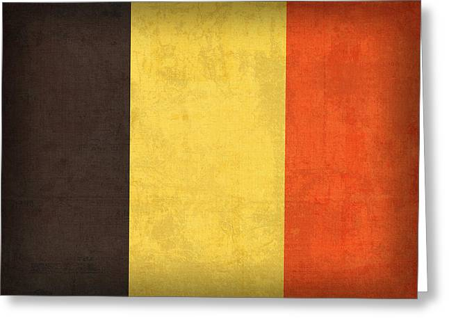 Europe Mixed Media Greeting Cards - Belgium Flag Vintage Distressed Finish Greeting Card by Design Turnpike