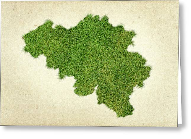 Planet Map Mixed Media Greeting Cards - Belgium Grass Map Greeting Card by Aged Pixel