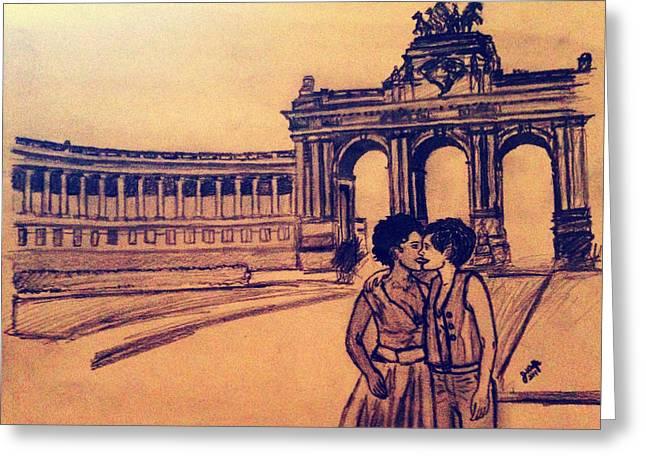 Interracial Art Greeting Cards - Belgium Kiss Greeting Card by Jasmine Wolfe