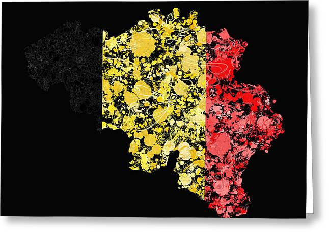 Cartography Greeting Cards - Belgium Map Flag Greeting Card by Marion De Lauzun