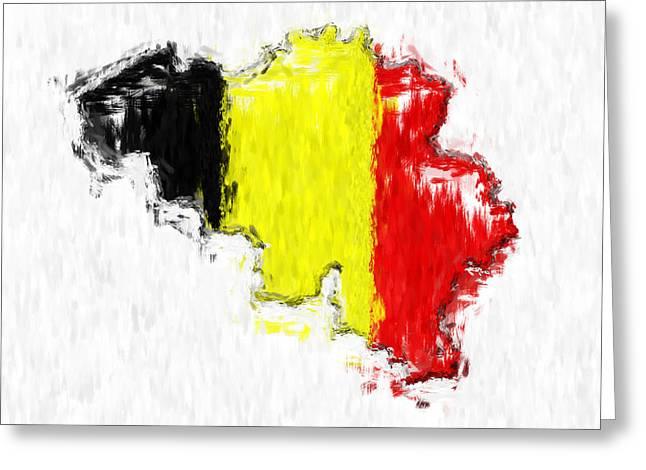 Belgium Painted Flag Map Greeting Card by Antony McAulay