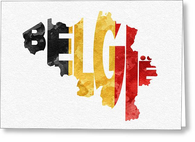 Original Watercolor Greeting Cards - Belgium Typographic Map Flag Greeting Card by Ayse Deniz