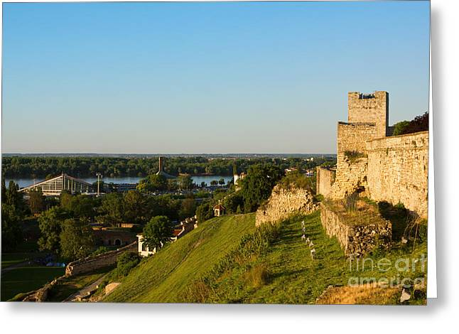 Hill Town Greeting Cards - Belgrade panoramic view toward Danube river Greeting Card by Kiril Stanchev