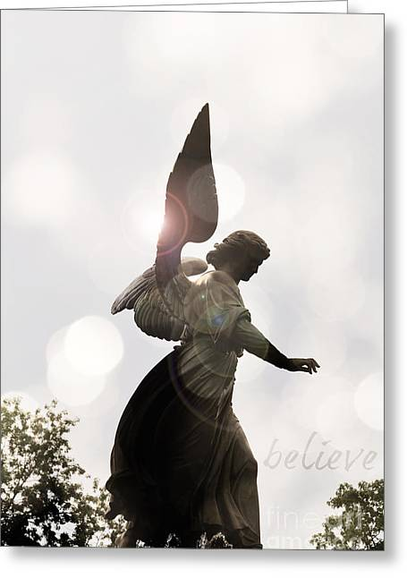 Religious Mixed Media Greeting Cards - Believe in Angels Greeting Card by AdSpice Studios