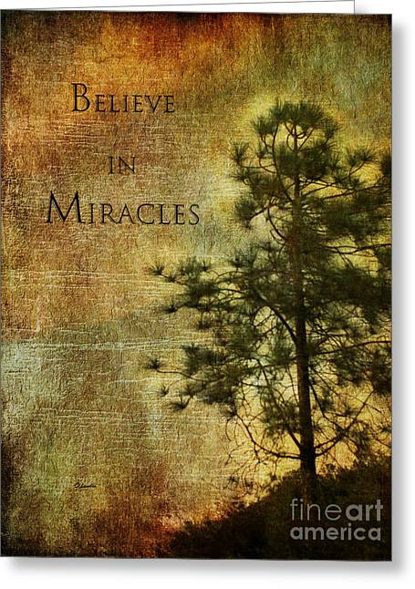 Customizable Greeting Cards - Believe In Miracles - with text			 Greeting Card by Claudia  Ellis