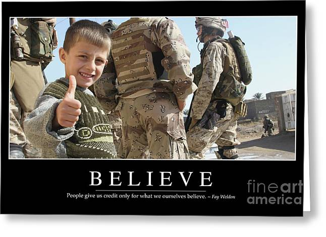 Iraq Posters Photographs Greeting Cards - Believe Inspirational Quote Greeting Card by Stocktrek Images