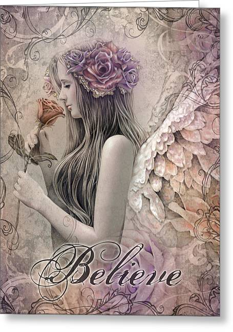 Angel Mixed Media Greeting Cards - Believe Greeting Card by Jessica Galbreth