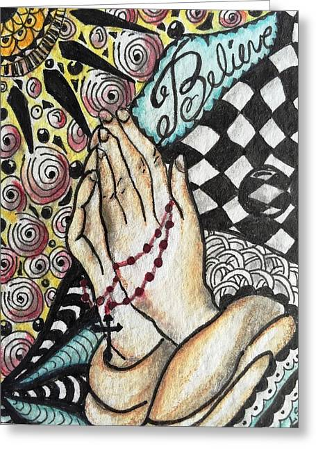 Rosary Mixed Media Greeting Cards - Believe Greeting Card by Lauri Shorter