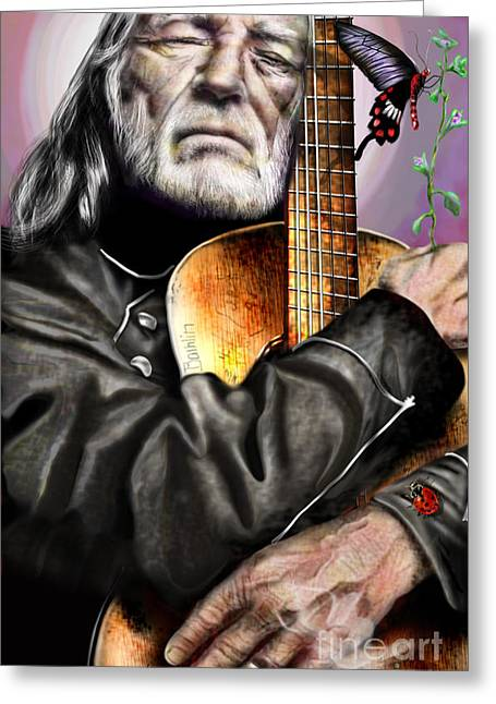 Willie Nelson Greeting Cards - Believing In Rainbows and Butterflies-Being Willie Greeting Card by Reggie Duffie