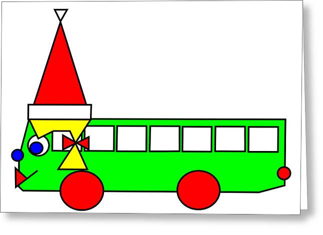 Belinda Greeting Cards - Belinda the Bus wishes you a Merry Christmas Greeting Card by Asbjorn Lonvig