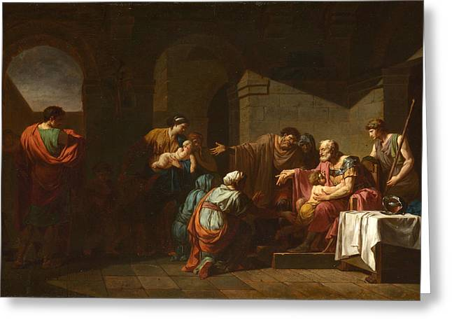 Francois Greeting Cards - Belisarius receiving Hospitality from a Peasant Greeting Card by Jean-Francois-Pierre Peyron