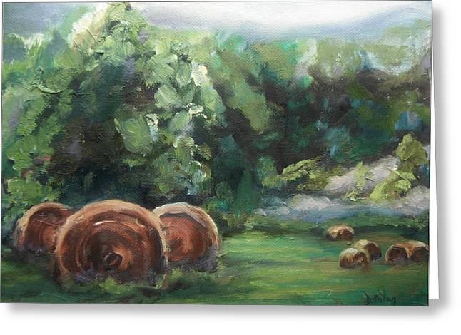 Beliveau Hay Rolls Greeting Card by Donna Tuten