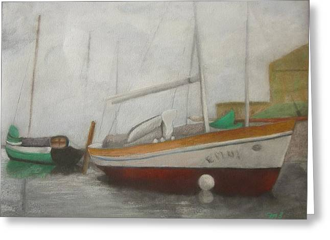 Docked Sailboat Pastels Greeting Cards - Belize Boats Greeting Card by Marilyn Mull