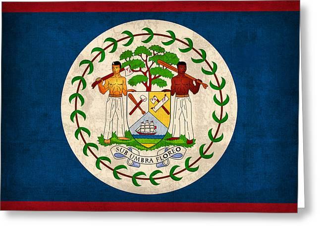 Belize Greeting Cards - Belize Flag Vintage Distressed Finish Greeting Card by Design Turnpike