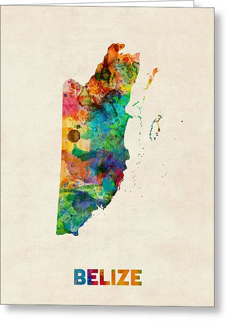 Belize Greeting Cards - Belize Watercolor Map Greeting Card by Michael Tompsett